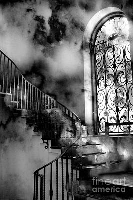 With Photograph - Surreal Black White Fantasy Staircase To Heaven by Kathy Fornal
