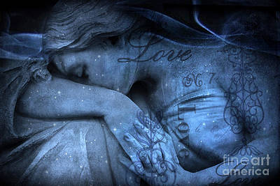 Surreal Blue Sad Mourning Weeping Angel Lost Love - Starry Blue Angel Weeping Print by Kathy Fornal