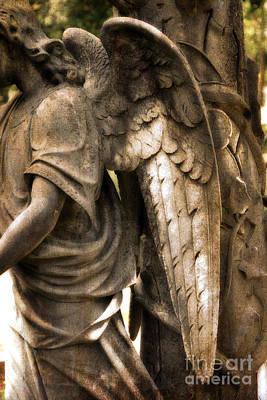 Surreal Dreamy Angel Art Wings - Guardian Angel Art Wings Print by Kathy Fornal