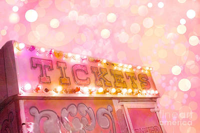 Surreal Pink Carnival Photograph - Surreal Dreamy Carnival Festival Fair Pink Ticket Booth - Whimsical Fantasy Carnival Art by Kathy Fornal