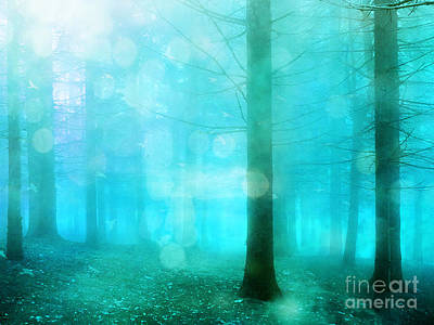Surreal Dreamy Fantasy Bokeh Aqua Teal Turquoise Woodlands Trees  Print by Kathy Fornal