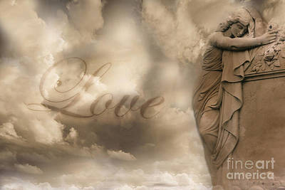 Surreal Dreamy Love Ethereal Sad Angel Cemetery Statue Sepia Clouds - Lost Love Print by Kathy Fornal
