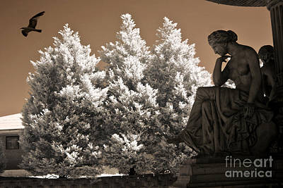 Surreal Ethereal Dreamy Infrared Sepia Female Statue Nature Ravens Landscape Print by Kathy Fornal