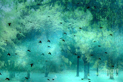Surreal Landscape Photograph - Surreal Fantasy Aqua Teal Woodlands Trees With Ravens Flying by Kathy Fornal