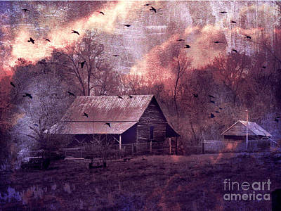 Surreal Fantasy Barn Landscape With Ravens Print by Kathy Fornal