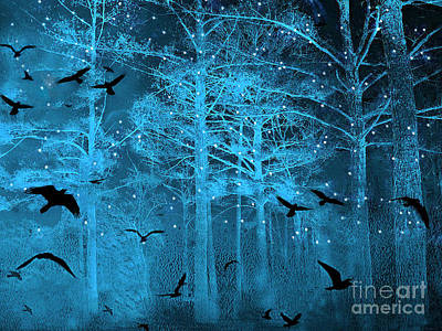 Surreal Fantasy Blue Woodlands Ravens And Stars - Fairytale Fantasy Blue Nature With Flying Ravens Print by Kathy Fornal