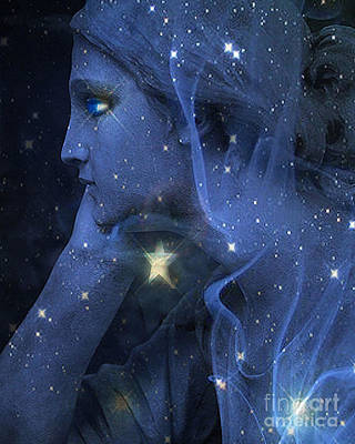 Surreal Fantasy Celestial Blue Angelic Face With Stars Print by Kathy Fornal