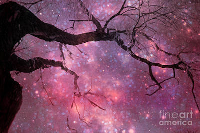 Surreal Fantasy Celestial Nature Trees Dreamscape Stars And Fairy Lights Print by Kathy Fornal