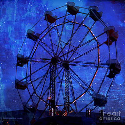 Surreal Fantasy Dark Blue Ferris Wheel Starry Night - Blue Ferris Wheel Carnival Decor Print by Kathy Fornal