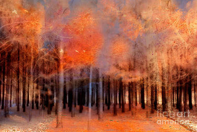 Surreal Fantasy Ethereal Trees Autumn Fall Orange Woodlands Nature  Print by Kathy Fornal