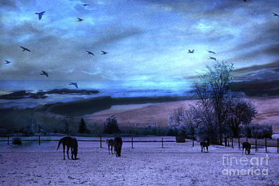 Surreal Fantasy Fairytale Horse Landscapes - Fairytale Blue Skies Print by Kathy Fornal