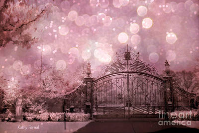 Surreal Fantasy Fairytale Pink Nature Haunting Gothic Gate And Bokeh Circles Print by Kathy Fornal