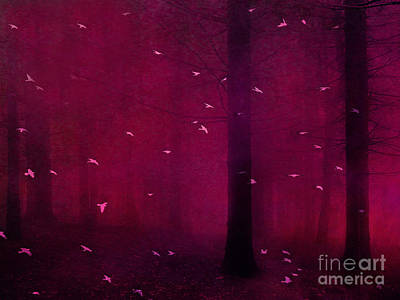 Surreal Fantasy Forest Woodlands With Birds Print by Kathy Fornal