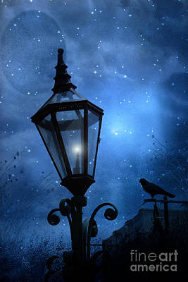 Ravens And Crows Photograph - Surreal Fantasy Gothic Blue Night Lantern With Ravens - Starry Night Surreal Lantern Blue Moon by Kathy Fornal