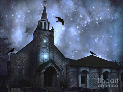Surreal Fantasy Gothic Church With Ravens Flying - Church Blue Winter Night Print by Kathy Fornal
