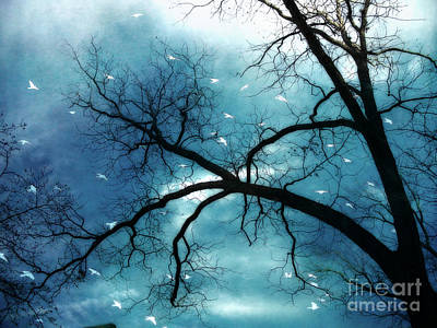 Surreal Fantasy Haunting Gothic Tree With Birds Print by Kathy Fornal