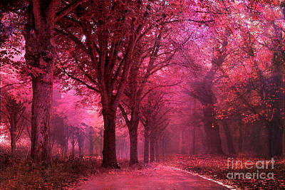 Surreal Fantasy Pink Red Autumn Fall Woodlands Nature Landscape Print by Kathy Fornal