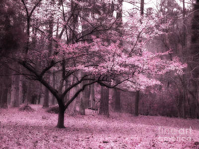 Surreal Fantasy Pink Trees Nature Landscape Print by Kathy Fornal