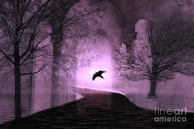 Surreal Fantasy Purple Nature Trees With Raven Flying Into Light Print by Kathy Fornal