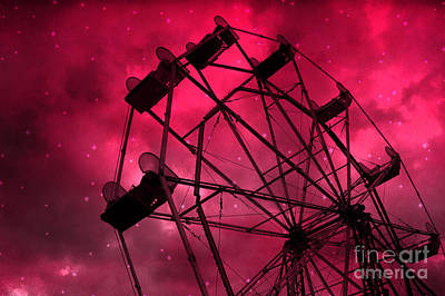 Surreal Fantasy Red And Pink Ferris Wheel Carnival Ride With Stars Print by Kathy Fornal