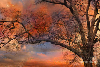 Surreal Fantasy Orange Sunset Trees Ethereal Landscape Print by Kathy Fornal