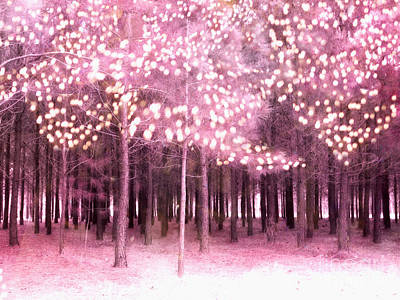Surreal Fantasy Trees With Sparkling Lights - Pink Nature Trees Woodlands Print by Kathy Fornal