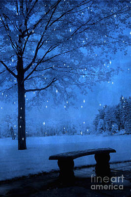 Surreal Fantasy Winter Blue Tree Snow Landscape Print by Kathy Fornal