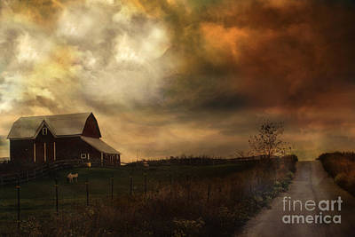 Surreal Barns Photograph - Surreal Fine Art Rural Barn Nature Country Road Landscape by Kathy Fornal