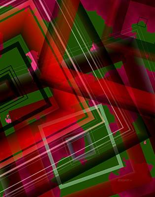 Angle Digital Art - Surreal Geometry In Green And Red  by Mario Perez
