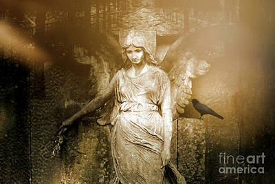 Surreal Gothic Angel Art Photography - Spiritual Ethereal Sepia Angel With Black Raven  Print by Kathy Fornal