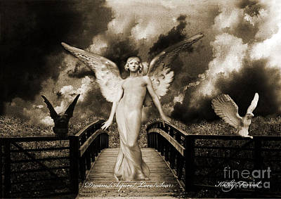 Surreal Gothic Angel With Gargoyle And Eagle Print by Kathy Fornal