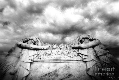 Surreal Gothic Black And White Cemetery Mourners On Casket  Print by Kathy Fornal