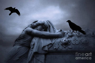 Surreal Gothic Cemetery Female Mourner Draped Over Coffin With Ravens - Surreal Blue Cemetery Art Print by Kathy Fornal