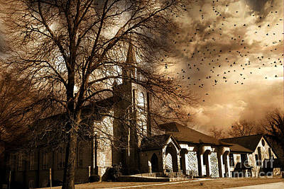 Fantasy Ravens Over Church Art Photograph - Surreal Gothic Church Fall Autumn Dark Sky And Flying Ravens  by Kathy Fornal