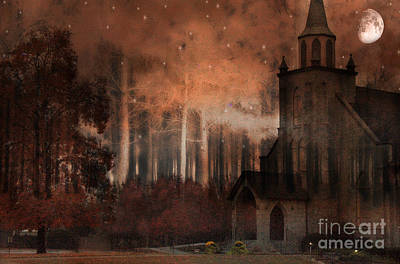 Surreal Gothic Church Autumn Fall Orange Brown With Full Moon And Stars Print by Kathy Fornal