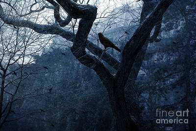 Surreal Gothic Crow Haunting Tree Limbs - Haunting Sapphire Blue Trees  Print by Kathy Fornal