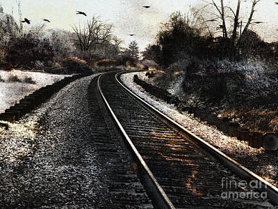 Train Tracks Photograph - Surreal Gothic Dark Train Railroad Tracks With Flying Ravens by Kathy Fornal