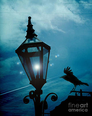 Ravens And Crows Photograph - Surreal Gothic Fantasy Dark Night Street Lantern With Flying Raven  by Kathy Fornal