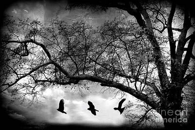 Surreal Gothic Fantasy Tree Nature Landscape - Haunting Surreal Trees With Flying Ravens  Print by Kathy Fornal
