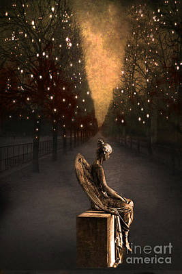 Surreal Gothic Haunting Emotive Angel Sitting On Bench   Print by Kathy Fornal