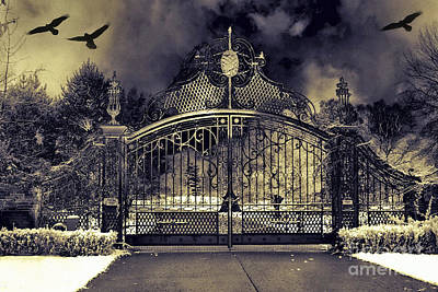 Gothic Fantasy Photograph - Surreal Gothic Haunting Gate With Flying Ravens by Kathy Fornal