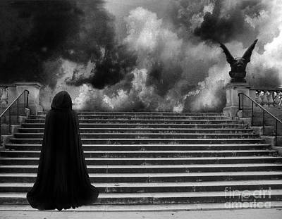 Surreal Gothic Infrared Black Caped Figure With Gargoyle On Paris Steps Original by Kathy Fornal