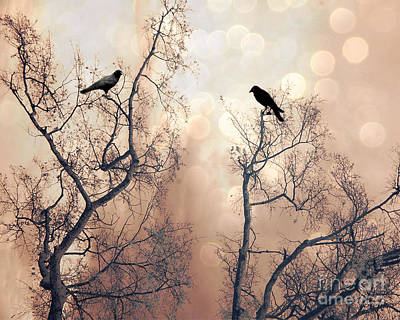 Surreal Gothic Nature Ravens Trees - Surreal Fantasy Dreamy Trees Nature Raven Crows Trees  Print by Kathy Fornal