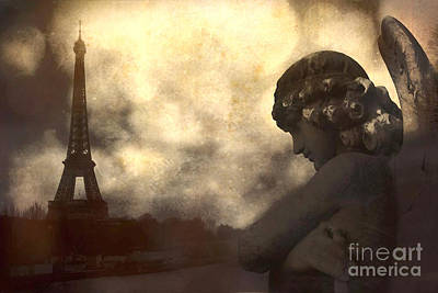 Gothic Dark Photograph - Surreal Gothic Paris Eiffel Tower With Angel Statue Montage by Kathy Fornal