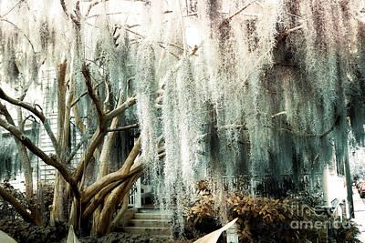 Savannah Nature Photograph - Surreal Gothic Savannah House Spanish Moss Hanging Trees - Savannah Mint Green Moss Trees by Kathy Fornal