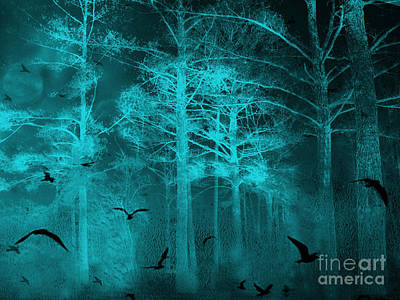 Surreal Haunting Fantasy Teal Green Nature Trees With Flying Ravens  Print by Kathy Fornal