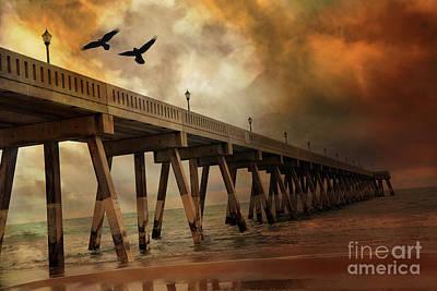 Surreal Haunting Fishing Pier Ocean Coastal - North Carolina Coast Pier  Print by Kathy Fornal