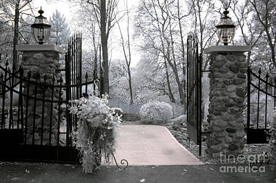 Surreal Haunting Infrared Nature Gate Scene Print by Kathy Fornal