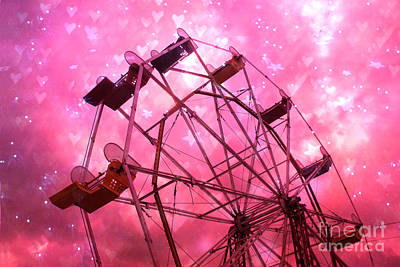 Pink Of Carnival And Festivals Ferris Wheels Photograph - Surreal Hot Pink Ferris Wheel Stars And Hearts by Kathy Fornal