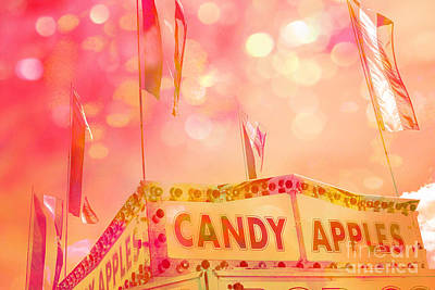 Pink Of Carnival And Festivals Ferris Wheels Photograph - Surreal Hot Pink Yellow Candy Apples Carnival Festival Fair Stand by Kathy Fornal